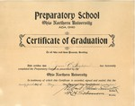 Certificate of Graduation - Ohio Northern University Preparatory School, 1922 May 24 by Ohio Northern University. Preparatory School and Grace E. Ingledue