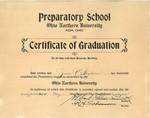 Grace E. Ingledue Papers - Certificate of Graduation - Ohio Northern University Preparatory School