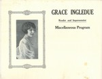 """Grace E. Ingledue Papers - Lobby Card - """"Grace Ingledue - Reader and Impersonator"""""""