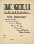 "Lobby Card - ""Grace Ingledue, B.O. - Reader and Impersonator"" by Grace E. Ingledue"