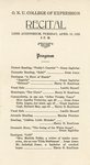 Grace E. Ingledue Papers - Program - O. N. U. College of Expression Recital